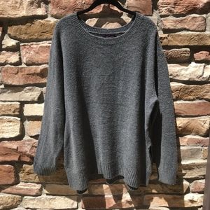 Olivia Sky Oversized Gray Sweater with Scoop Neck